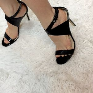 Charles David Patent Leather Ankle Wrap Heels